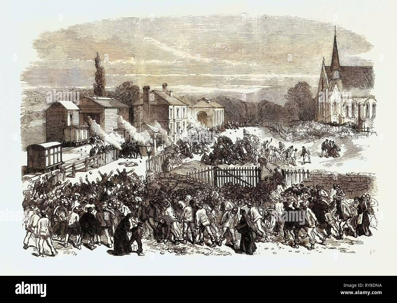 The Riot at Mold Flintshire: Attack on the Soldiers at the Railway Station 1869 - Stock Image