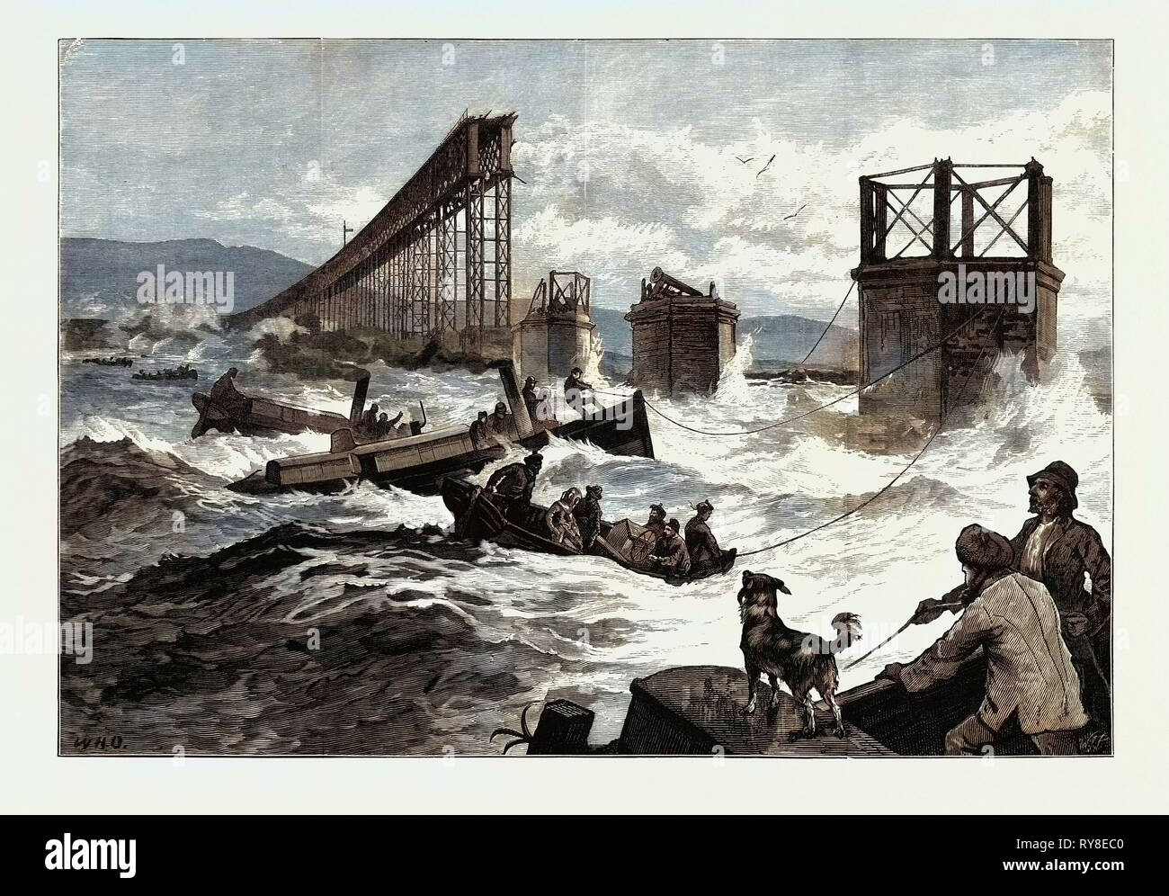 The Tay Bridge Disaster: Steam Launches and Divers' Barge Employed in Search 1880 - Stock Image