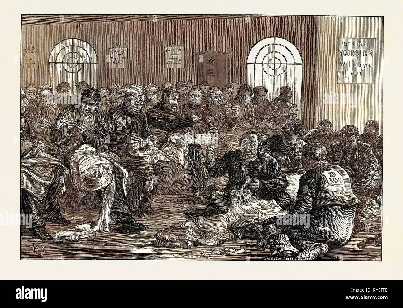 The Clerkenwell House of Correction: The Needle Room 1874 - Stock Image