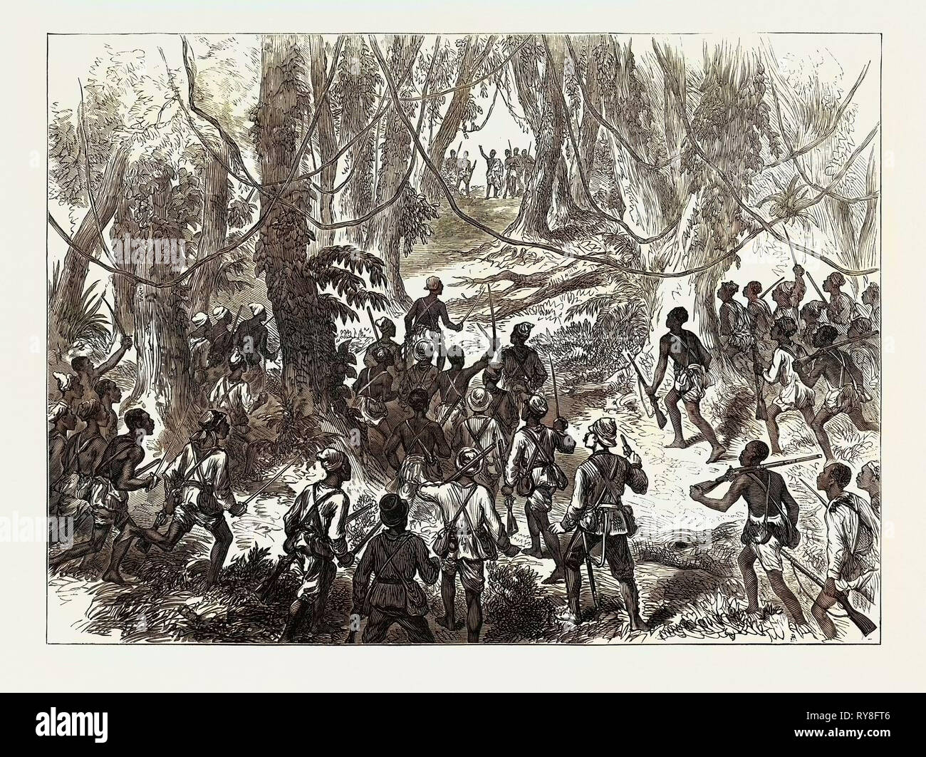 The Ashantee War: Lord Giffard and Advance Scouts on the Adansi Hills Warned by an Ashantee Priest Not to Go Forward 1874 - Stock Image