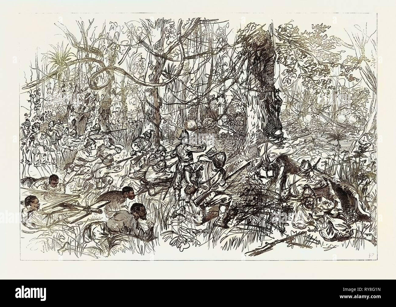 The Ashantee War: Advancing on Coomassie 1874 - Stock Image