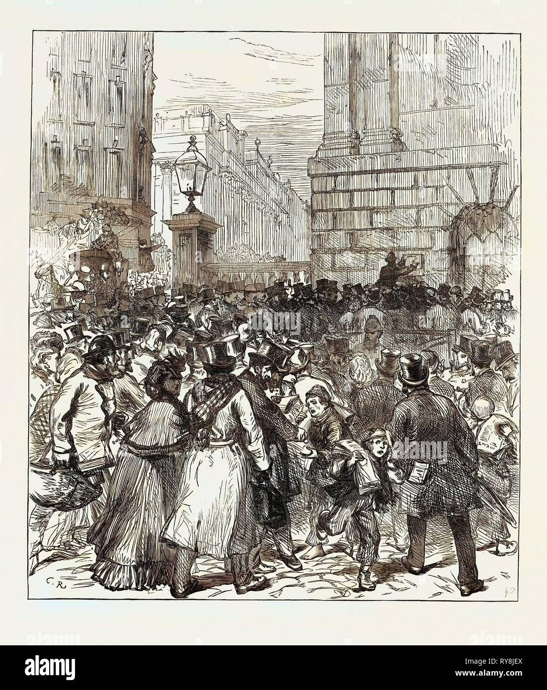 Illness of the Prince of Wales: Posting the Bulletin at the Mansion House 1871 - Stock Image