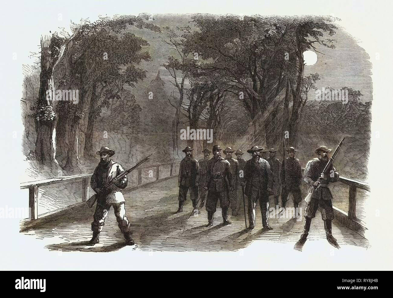 The Civil War in America: Unionist Scouting Party in the Virginian Woods in the Neighbourhood of Alexandria - Stock Image