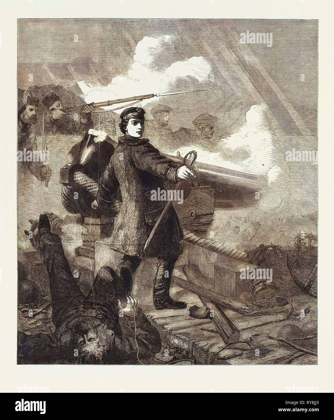 Gallant Act of Commander W.N. Hewett Before Sebastopol by Desanges in the Victoria Cross Gallery - Stock Image