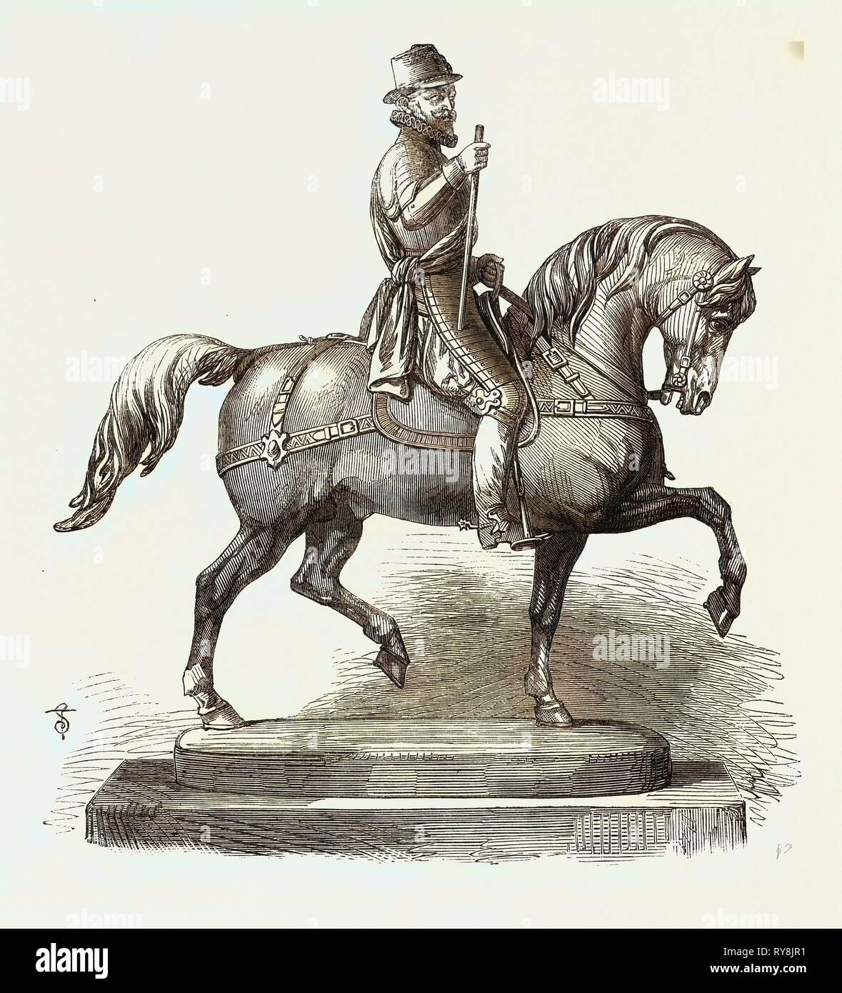 Silver Statuette of William the Taciturn a Prize for the Forthcoming International Steeplechase at Baden-Baden Germany Stock Photo