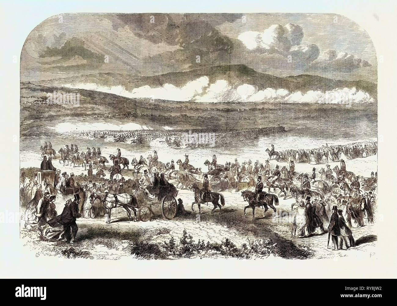 The Queen's Visit to Ireland: Review by Her Majesty on the Curragh of Kildare Charge of Cavalry - Stock Image
