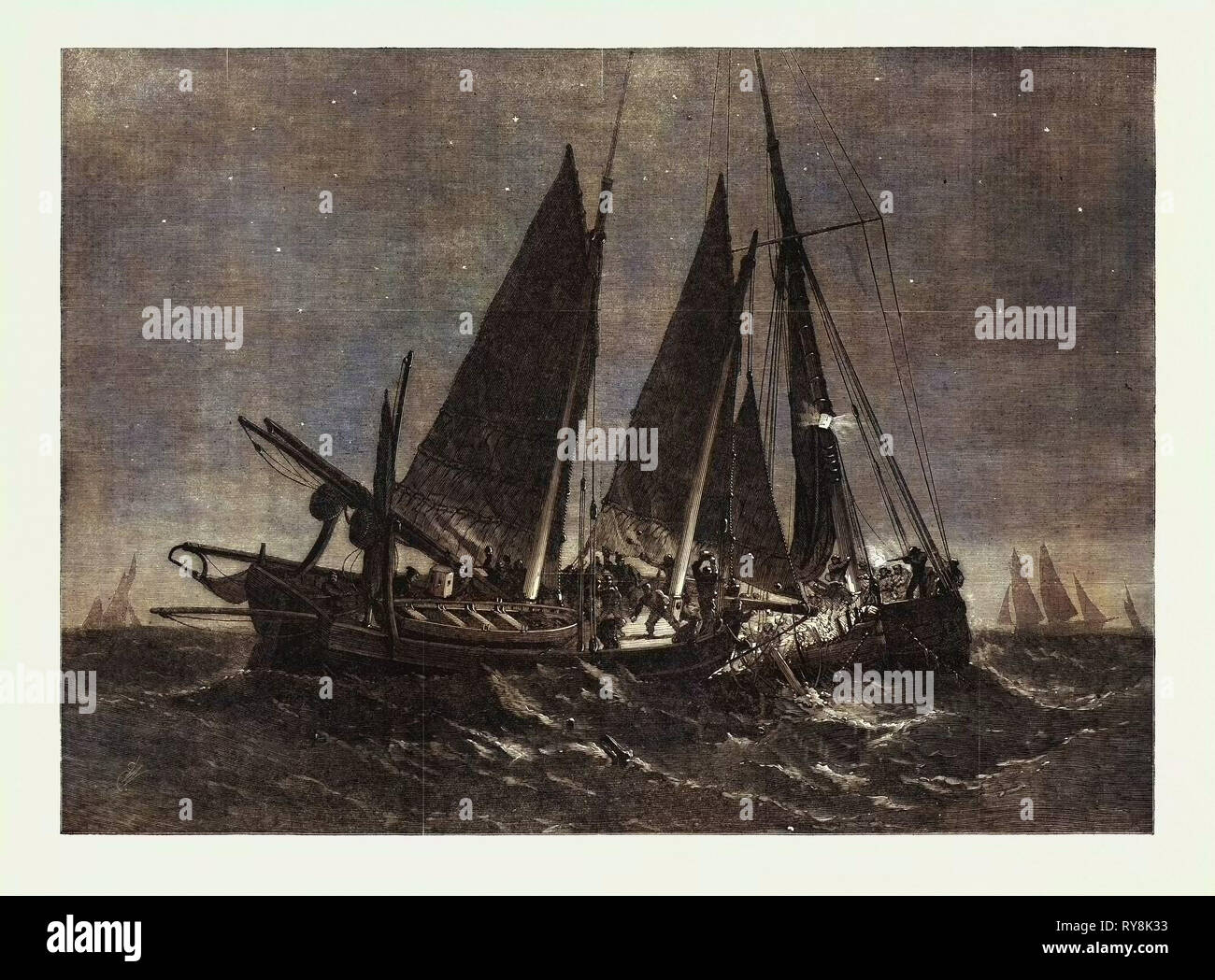Fight Off the North Foreland Between the Crew of the Prince Arthur Fishing-Smack of Ramsgate and of the Boulogne Fishing Boat - Stock Image