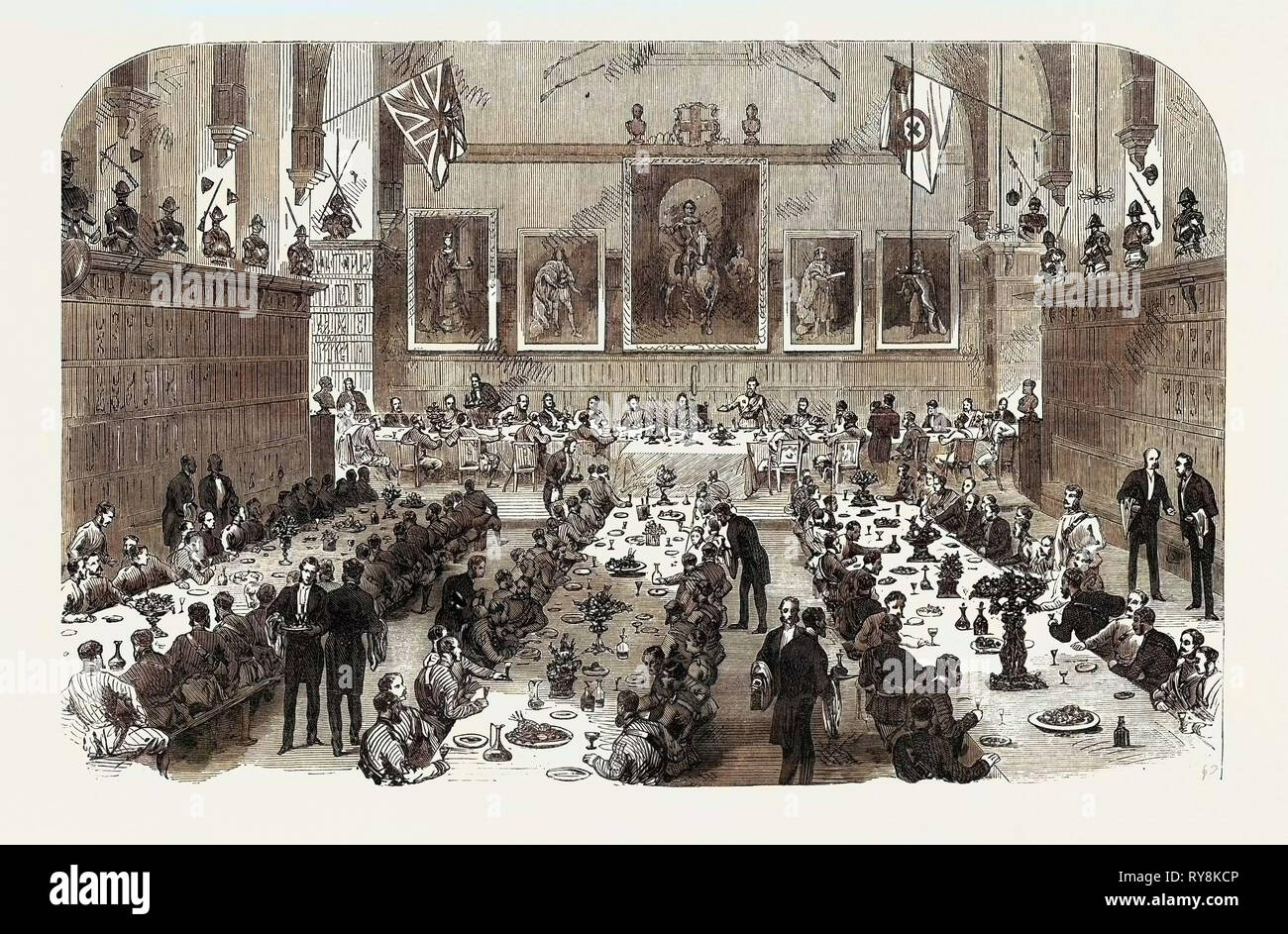 Dinner Given by the Inns of Court Volunteers to the Universities Corps 1868 - Stock Image