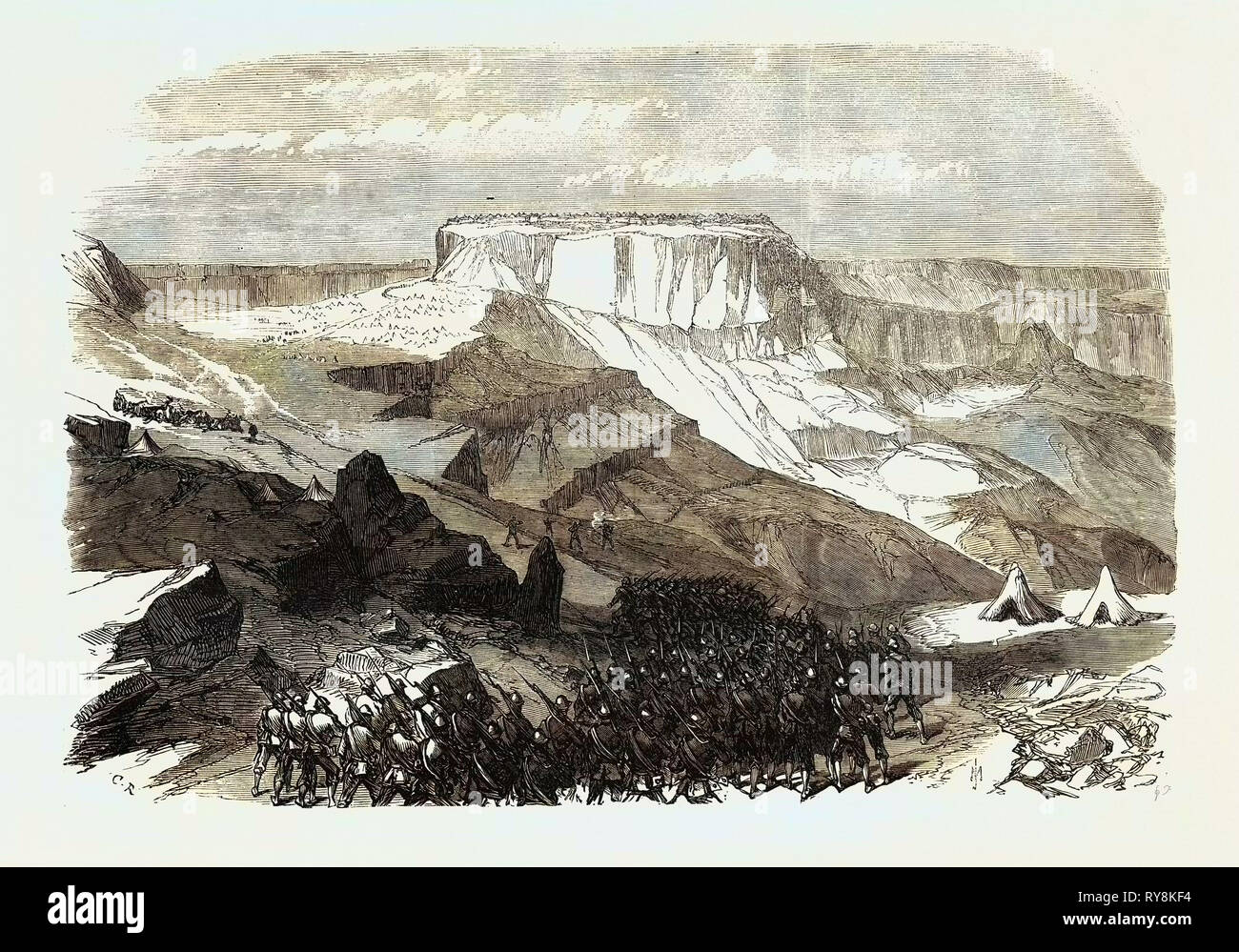 The War in Abyssinia: The 33rd Foot Advancing Upon Magdala from below Islamgee 1868 - Stock Image
