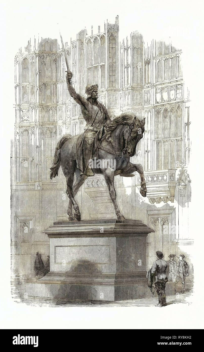 Colossal Statue of Richard Coeur De Lion, in the Old Palace Yard Westminster - Stock Image