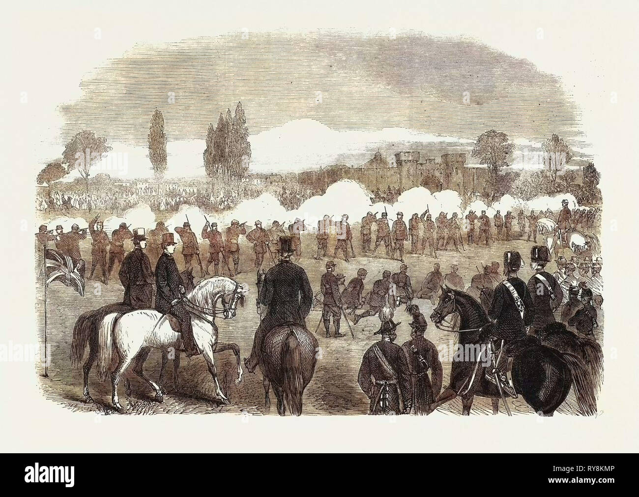 The Volunteer Movement: Review of the Cambridge University Volunteers and the Inns of Court Corps at Cambridge by Colonel M'Murdo in the Presence of the Prince of Wales 1861 - Stock Image