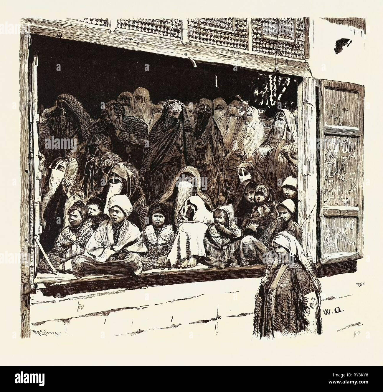 A FAMILY AND THEIR GUESTS WAITING FOR THE MAH'MAL.  Egypt, engraving 1879 - Stock Image