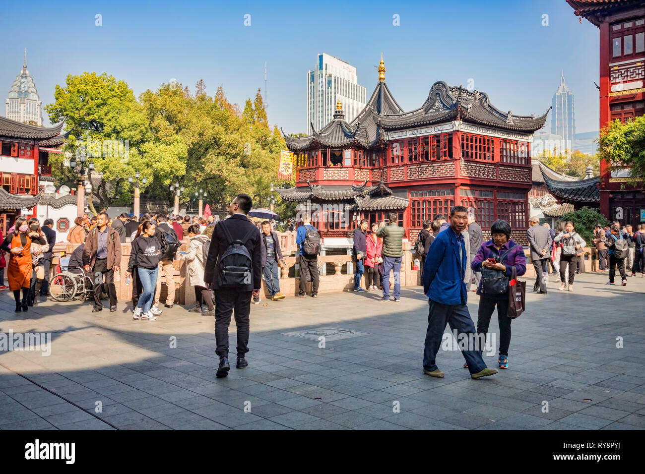 29 November 2018: Shanghai, China - Scene in the Old Town shopping area, a major visitor attraction. Stock Photo