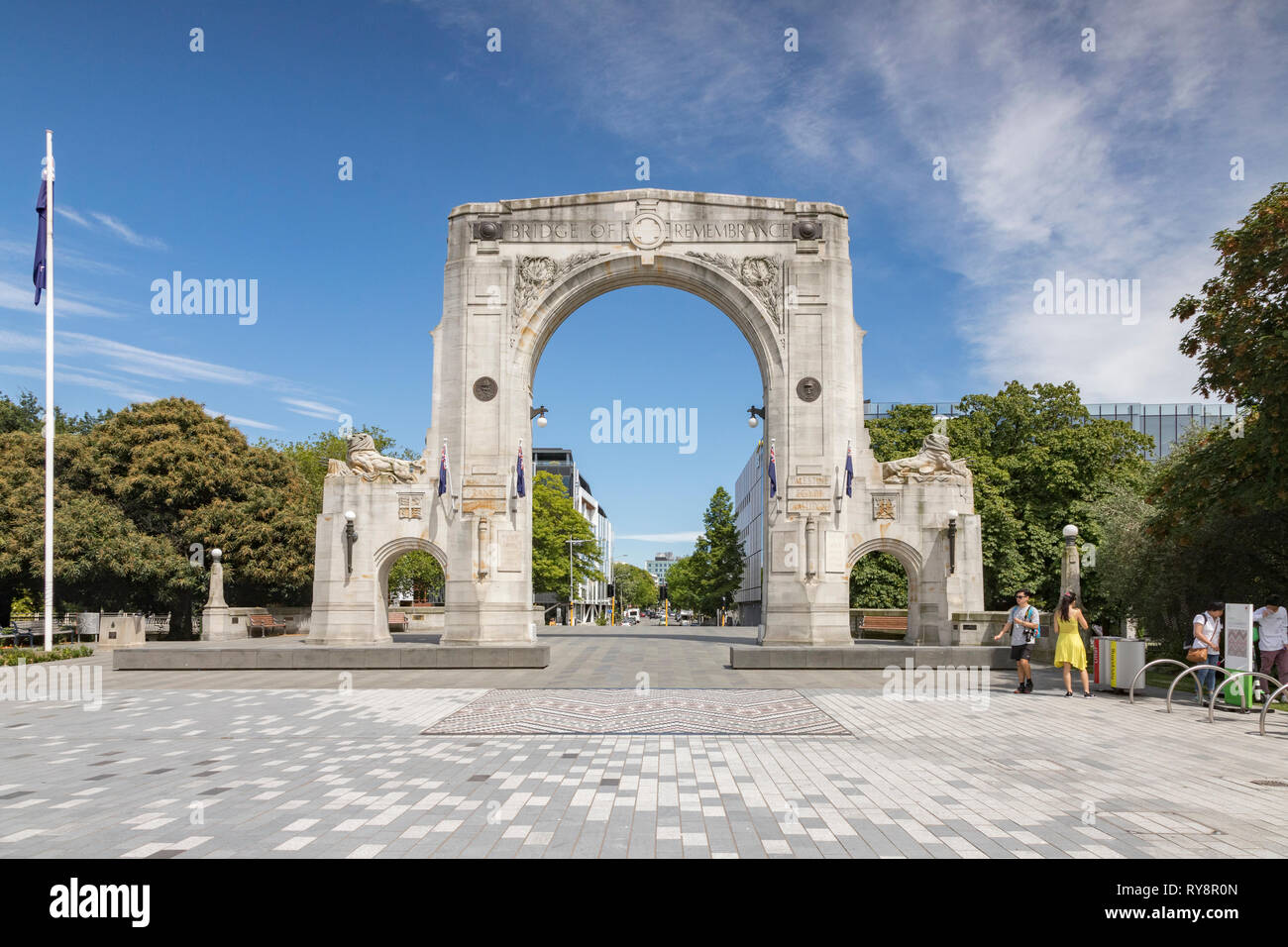 3 January 2019: Christchurch, New Zealand - The Bridge of Remembrance on Cashel Street in the centre of Christchurch. Stock Photo