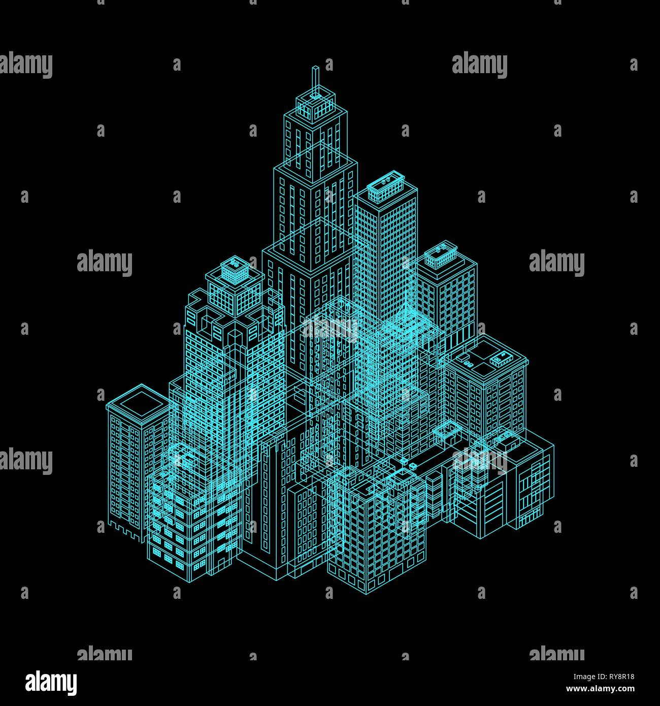 Vector Isometric Holography City. Stock Vector