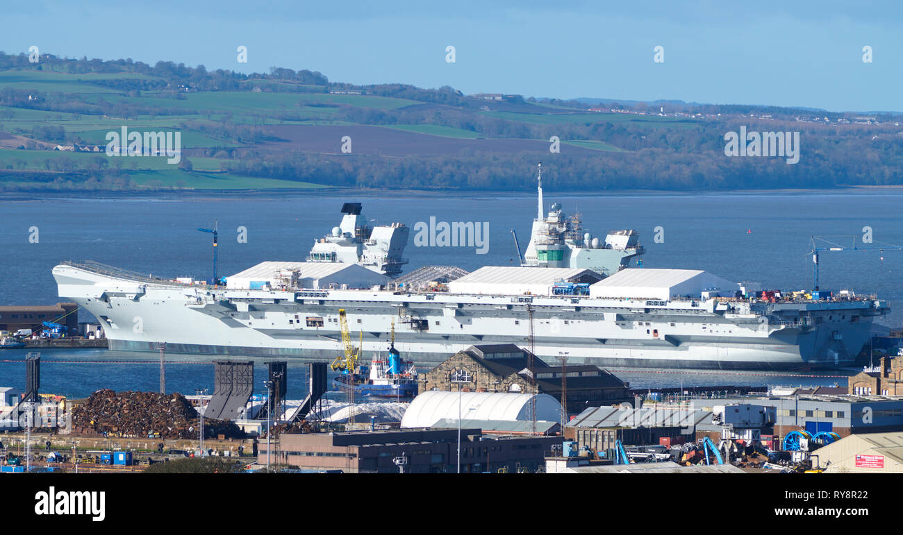 11 March, 2019. Royal Navy HMS Prince of Wales aircraft Carrier under construction at Babcock Marine shipyard at Rosyth Dockyard in Fife, Scotland, UK - Stock Image