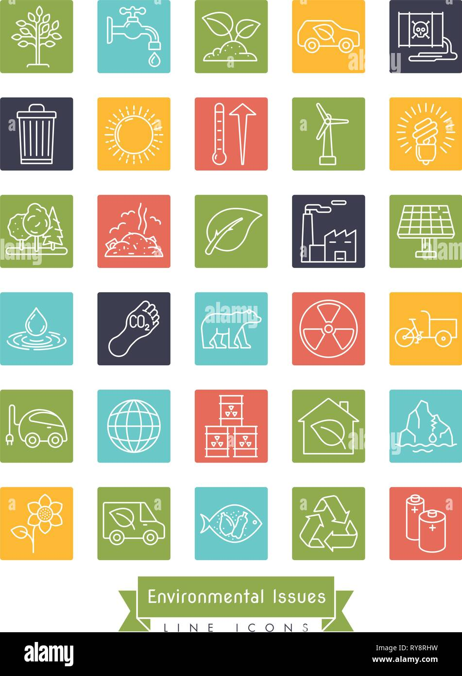 Collection of Environment and Climate related vector line icons in colored squares. Sustainability, global warming and climate change symbols. - Stock Vector