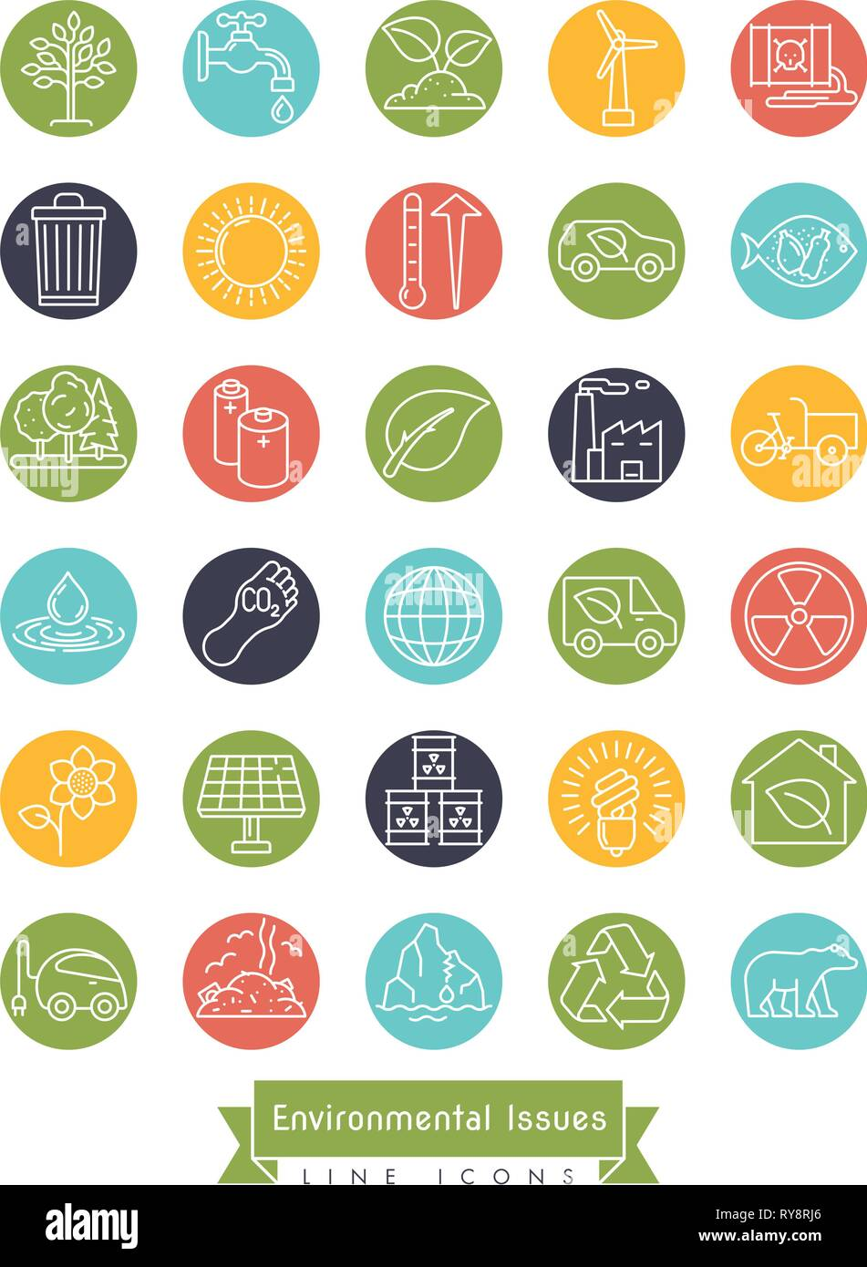 Collection of Environment and Climate related vector line icons in colored circles. Sustainability, global warming and polution symbols. - Stock Vector