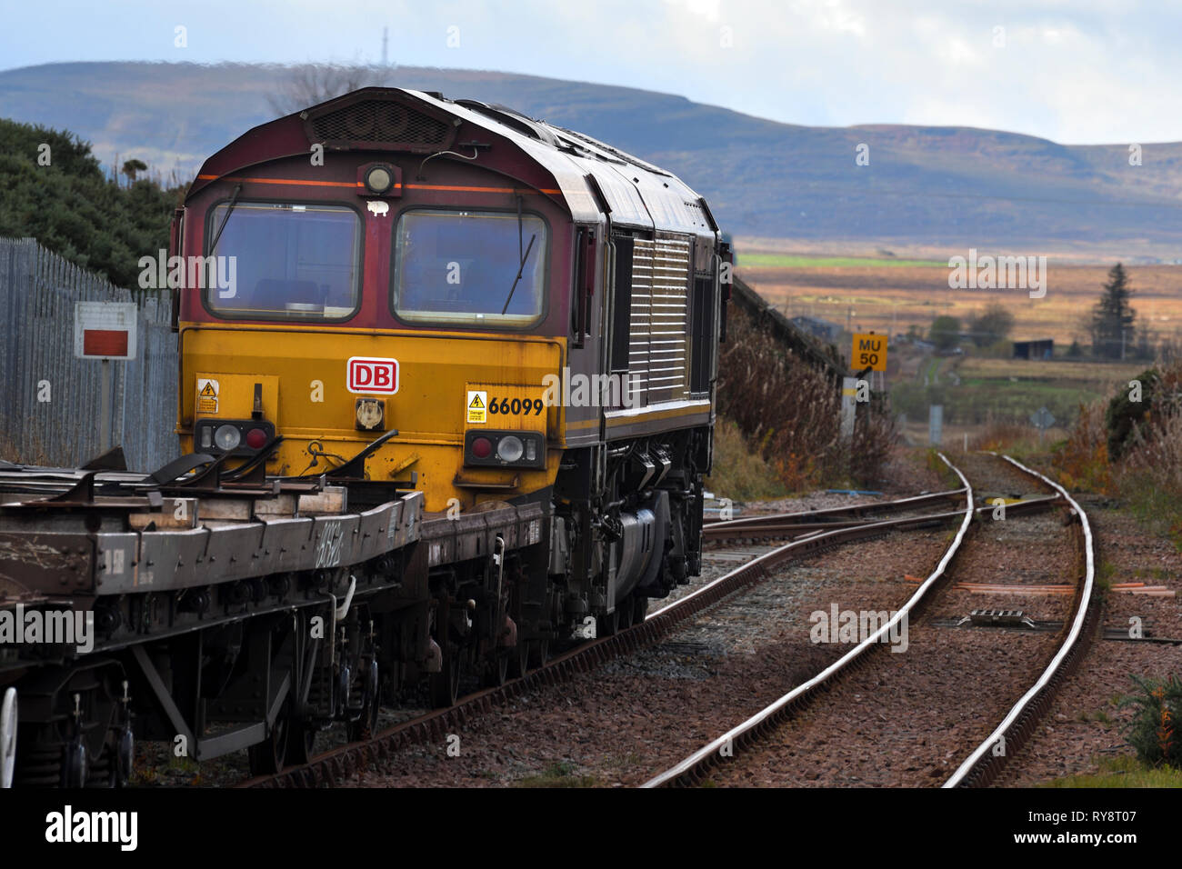 class 66;diesel locomotive;georgemas junction;caithness;scotland - Stock Image