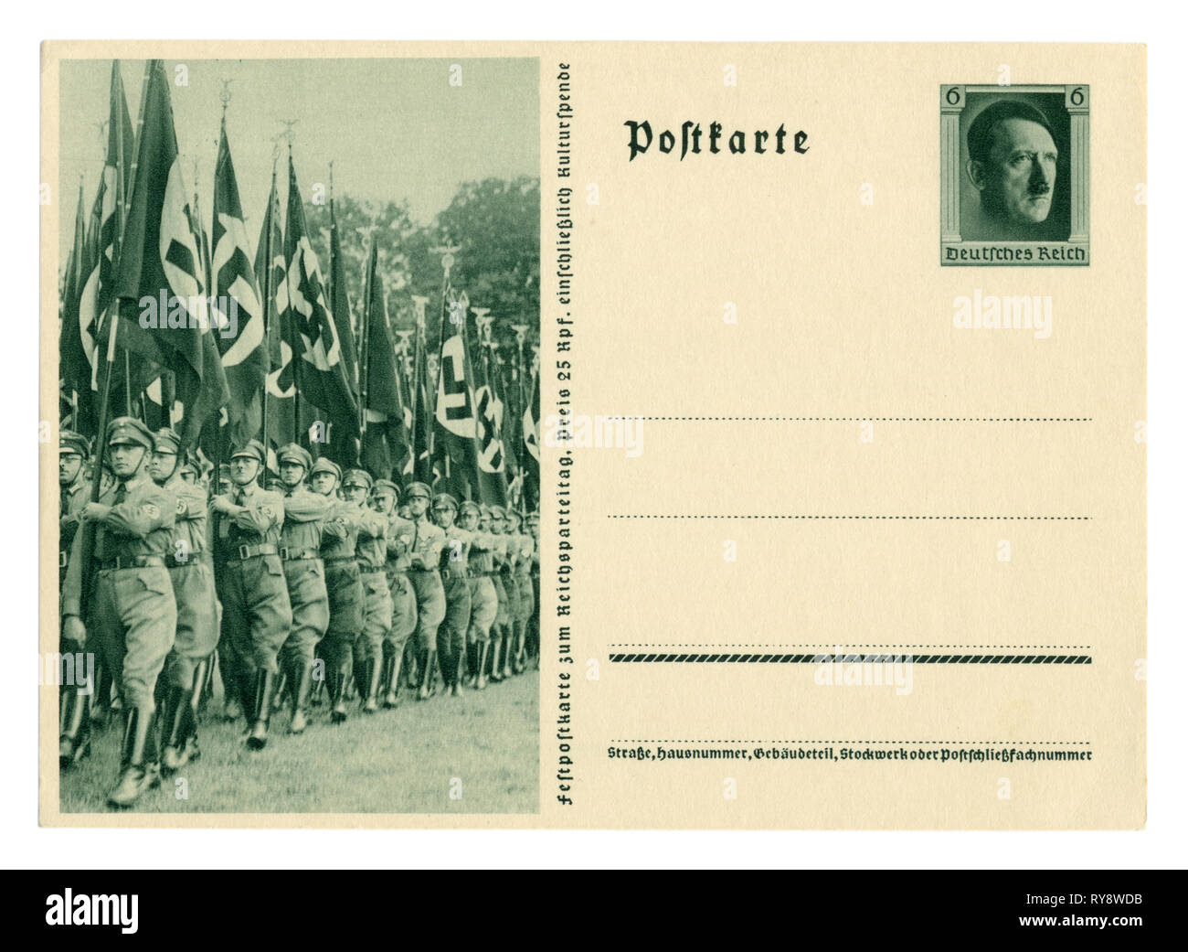 German historical postal card: The 9th party Congress of the NSDAP in Nuremberg in 1937, political leaders on the March with flags. Germany - Stock Image