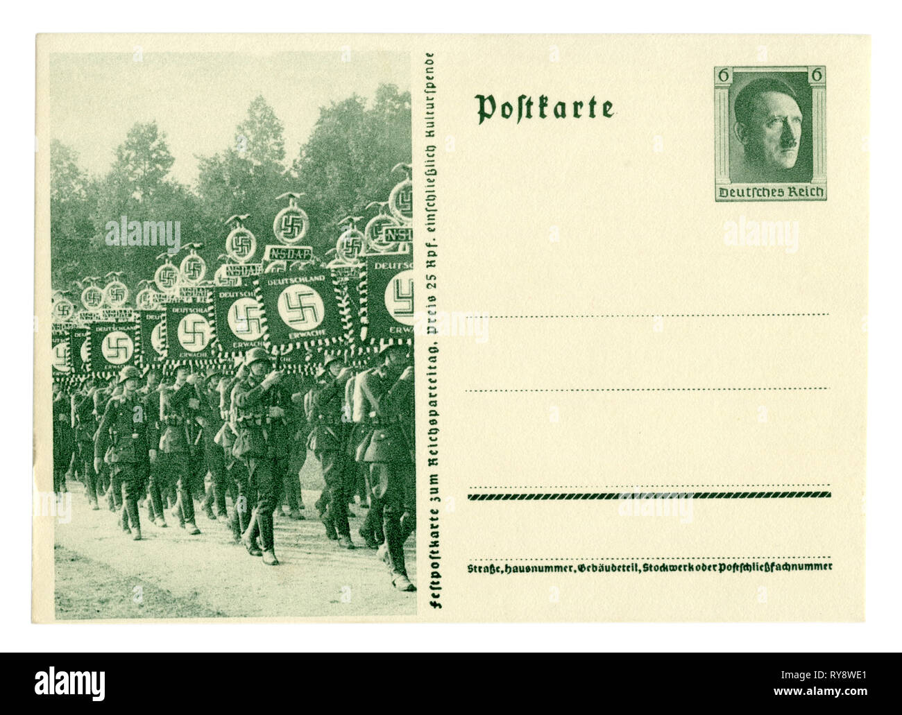 German historical postal card: The 9th party Congress of the NSDAP in Nuremberg in 1937, waffen SS units on the March with flags. Germany, Third Reich - Stock Image