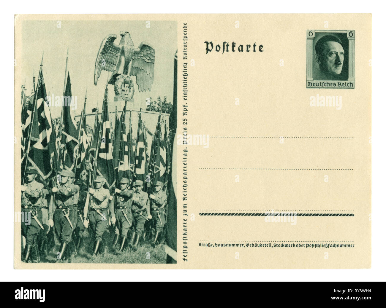 German historical postal card: The 9th party Congress of the NSDAP in Nuremberg in 1937, Sa assault troops on the March with flags. Germany - Stock Image