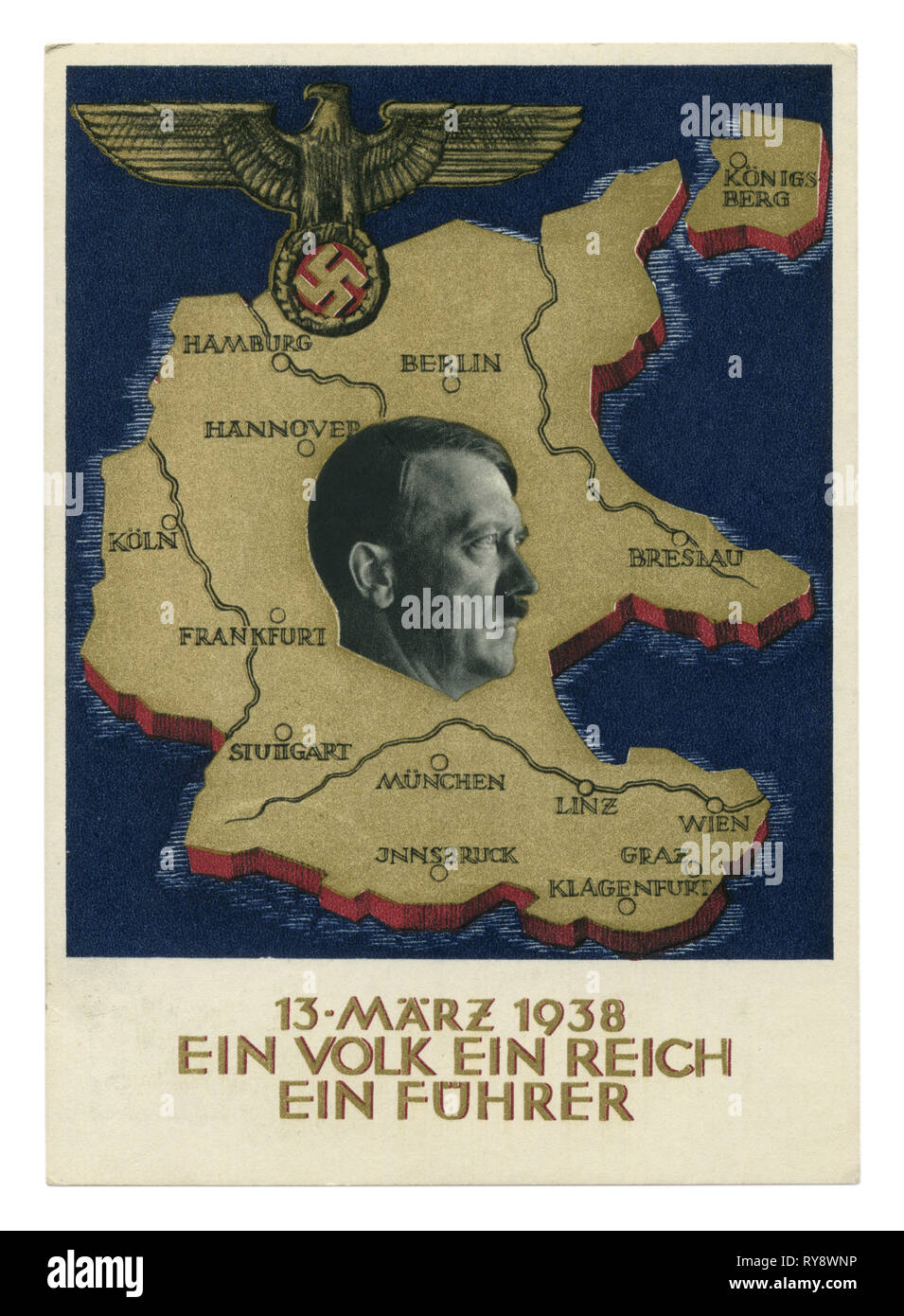 German historical postcard: A plebiscite on the question of the annexation of Austria,  'ein volk ein reich ein führer' 1938, Germany, Third Reich - Stock Image