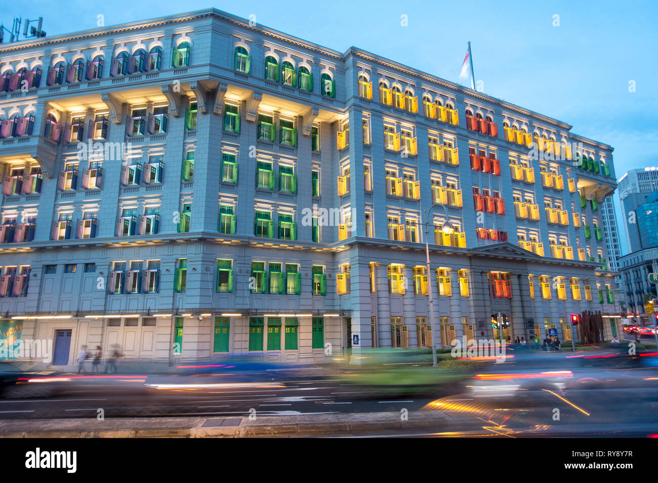 MICA Building With Colorful Windows, and Long Exposure Car Traffic, Singapore Stock Photo