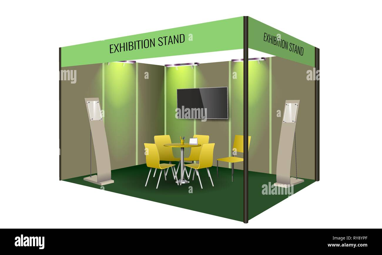 Exhibition Stand Template : Exhibition stand display design with table and chair info board