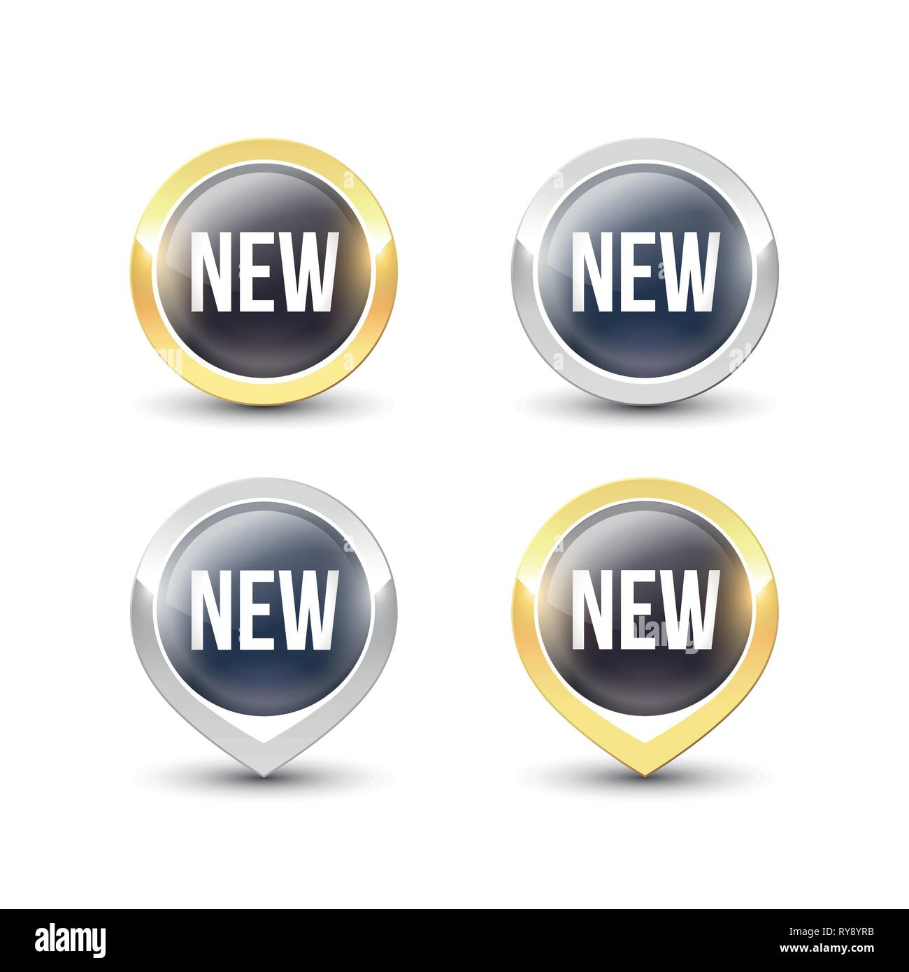 Black round NEW buttons and pointers with metallic gold and silver border. Vector label icons isolated on white background. - Stock Image