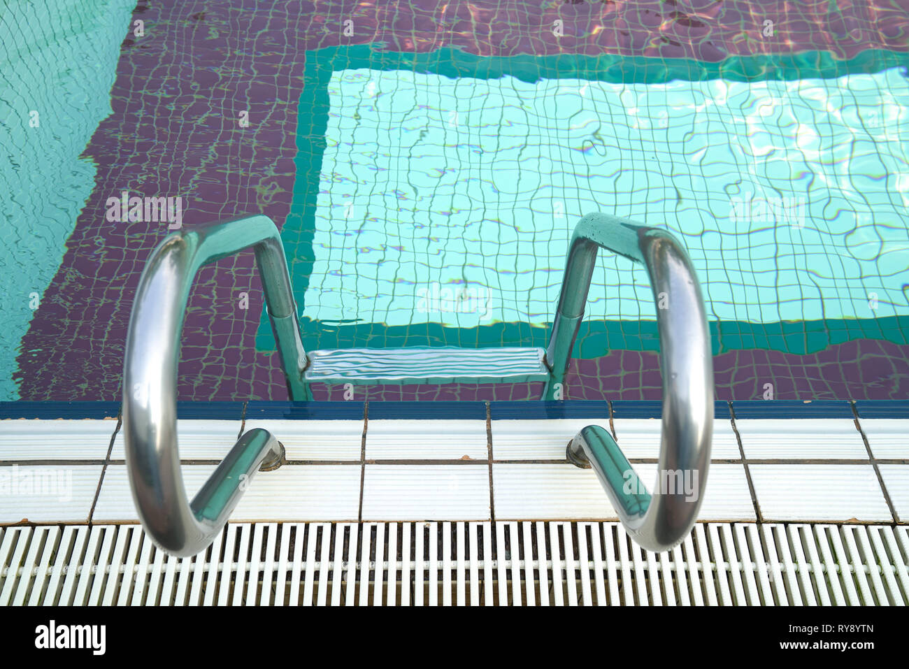 Sports or recreation icons or concept : swimming pool with stair or steps - Stock Image