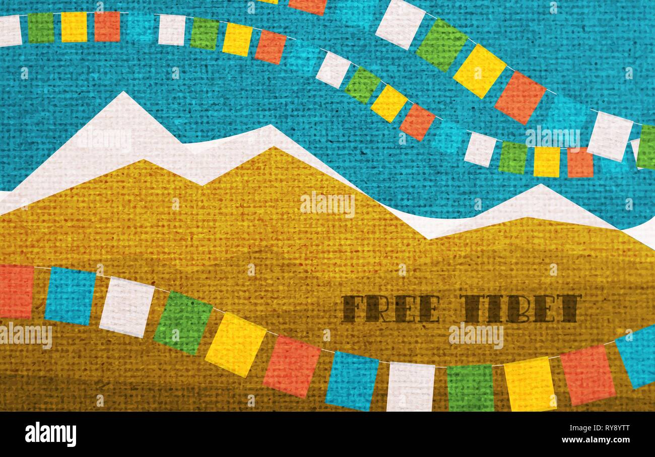 Free Tibet. Card to Remember of International Tibet Day. - Stock Vector