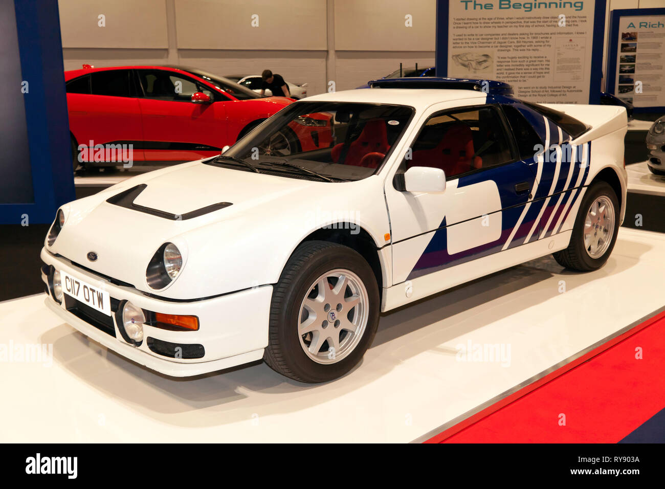 Three-quarter front-view of a 1986 Ford RS2000, on display in the Ian Callum Tribute Feature of the 2019 London Classic Car Show - Stock Image