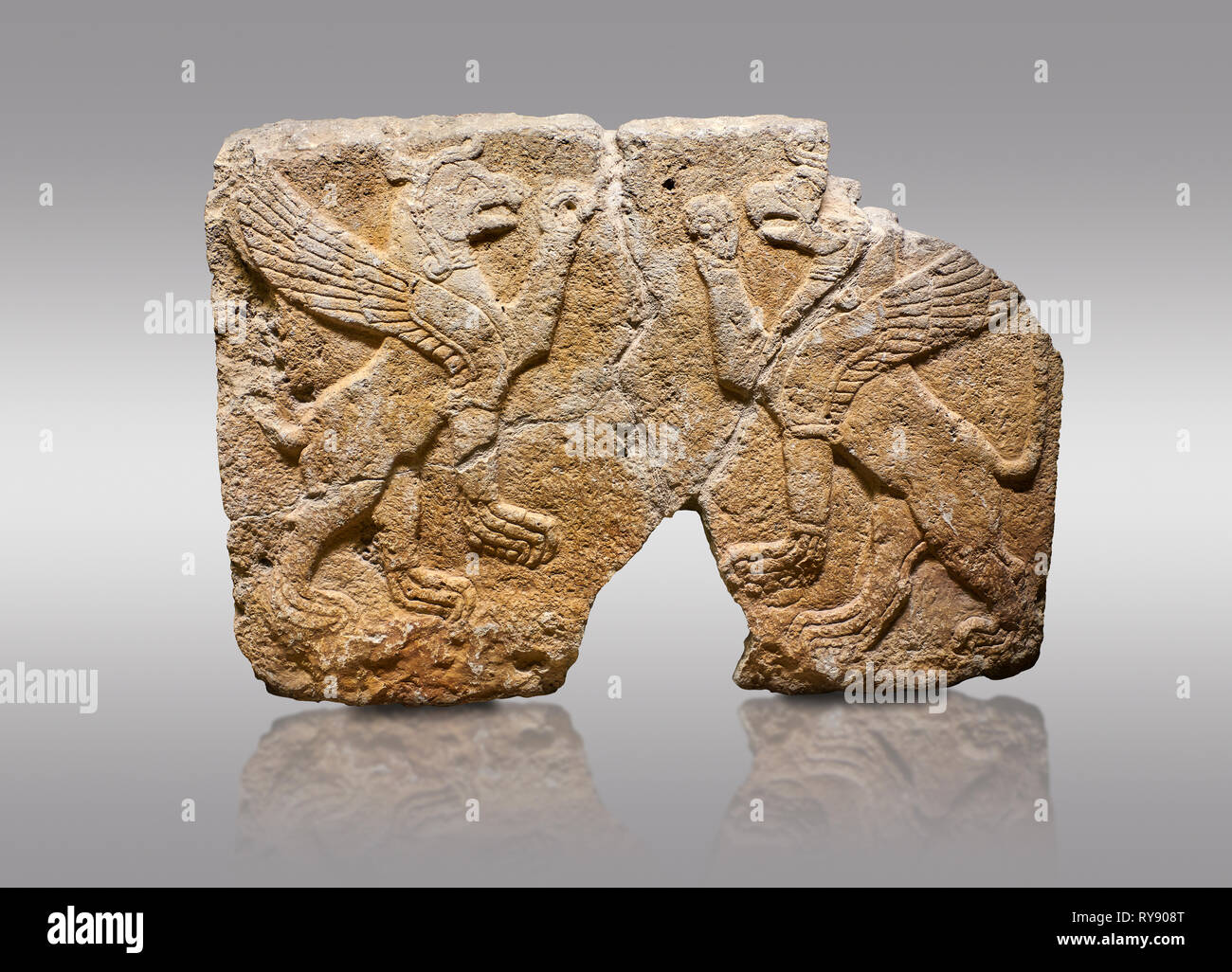 Picture & image of Hittite monumental relief sculpted orthostat stone panel Orthostats of a Procession. Limestone, Karkamıs, (Kargamıs), Carchemish (K Stock Photo