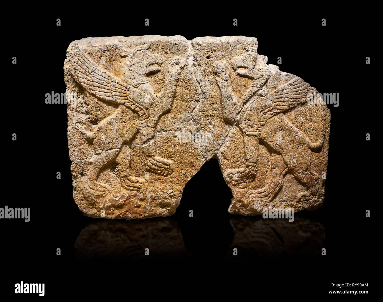 Hittite monumental relief sculpted orthostat stone panel Orthostats of a Procession. Limestone, Karkamıs, (Kargamıs), Carchemish (Karkemish), 900 700  Stock Photo