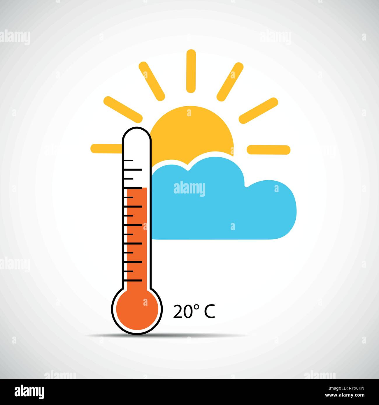 heat thermometer icon 20 degrees sping weather with sunshine vector illustration EPS10 - Stock Vector
