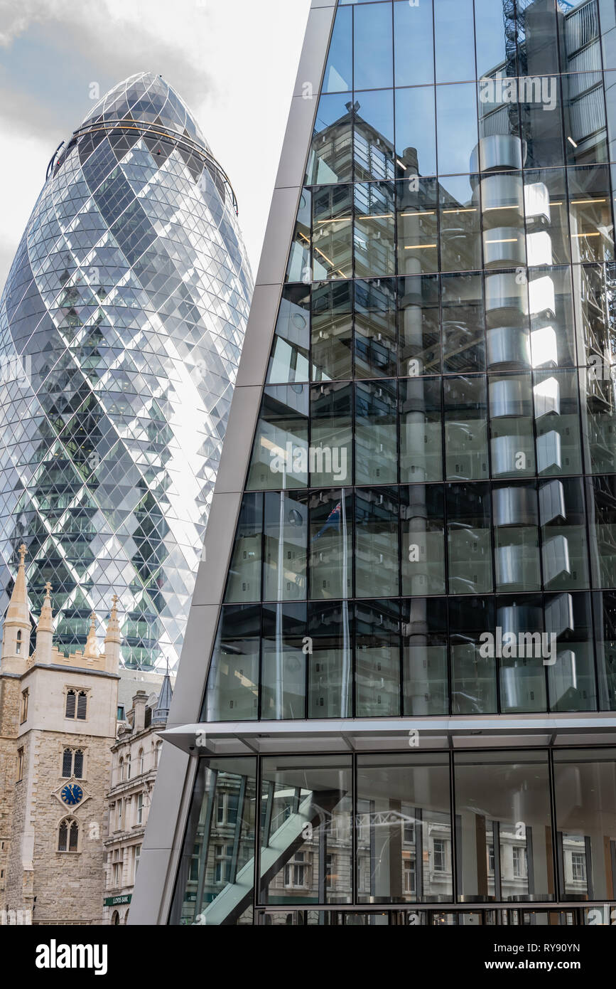 The 'Gherkin', 'Scalpel' and Lloyds Building in the City of London - Stock Image