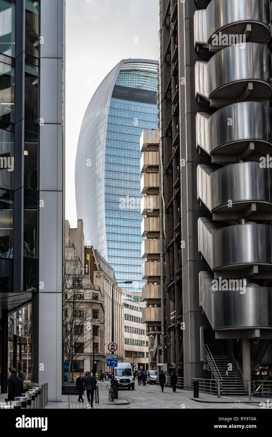 Contrasting styles and shapes in the City of London. - Stock Image