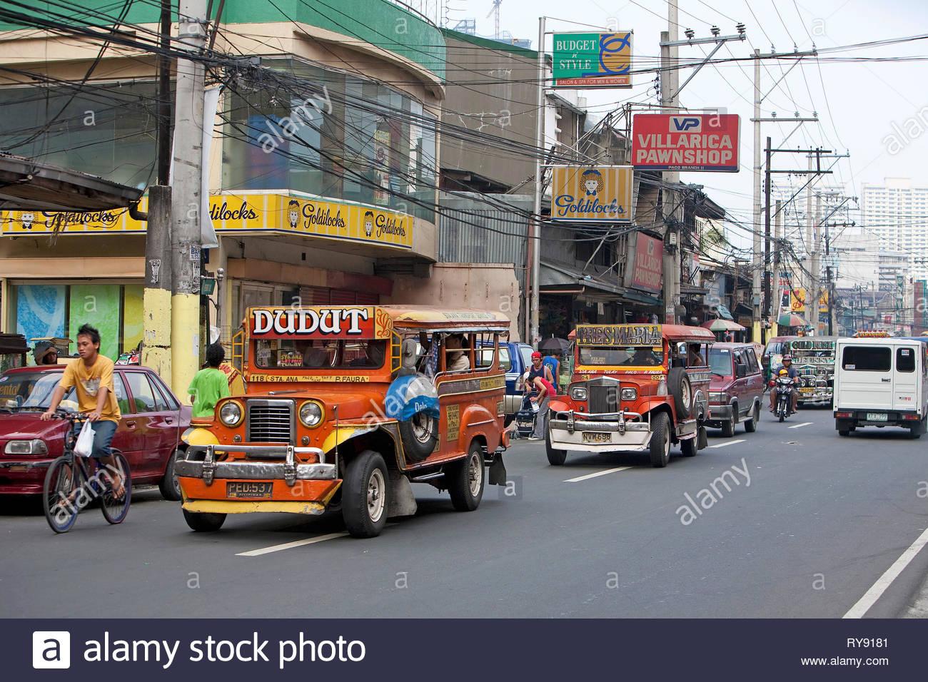 Jeepneys in Manila, most popular for public transportation, Manila, Luzon, Philippines - Stock Image