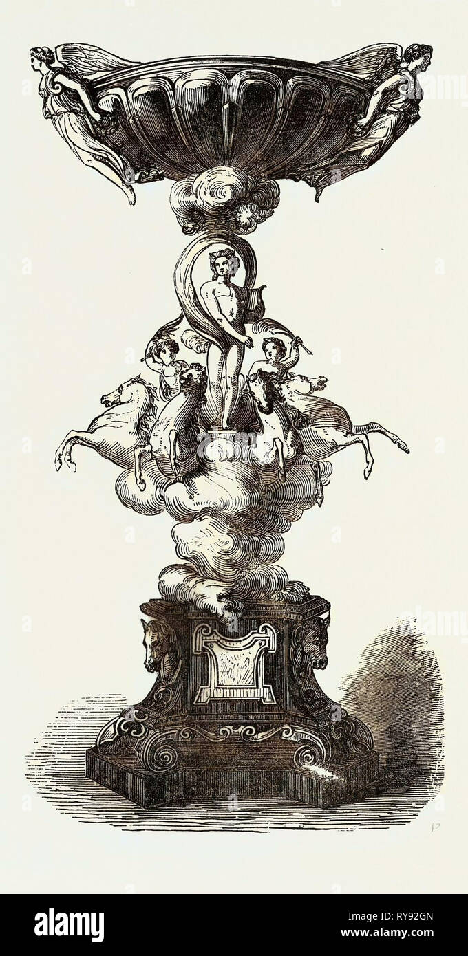 The Goodwood Race Prize Plate: The Chesterfield Cup, French Design, 'Apollo and Victory', 1852 - Stock Image