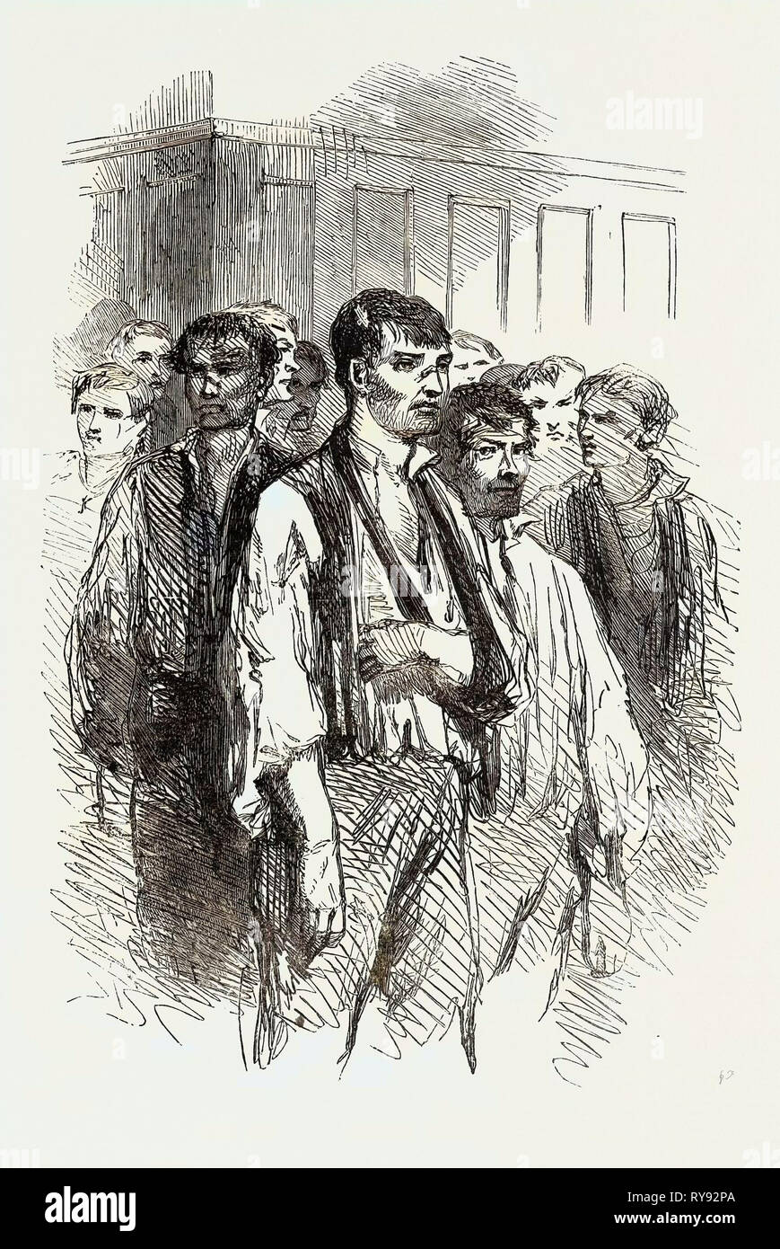 The Riot at Stockport: Prisoners Brought Into Court, 1852 - Stock Image