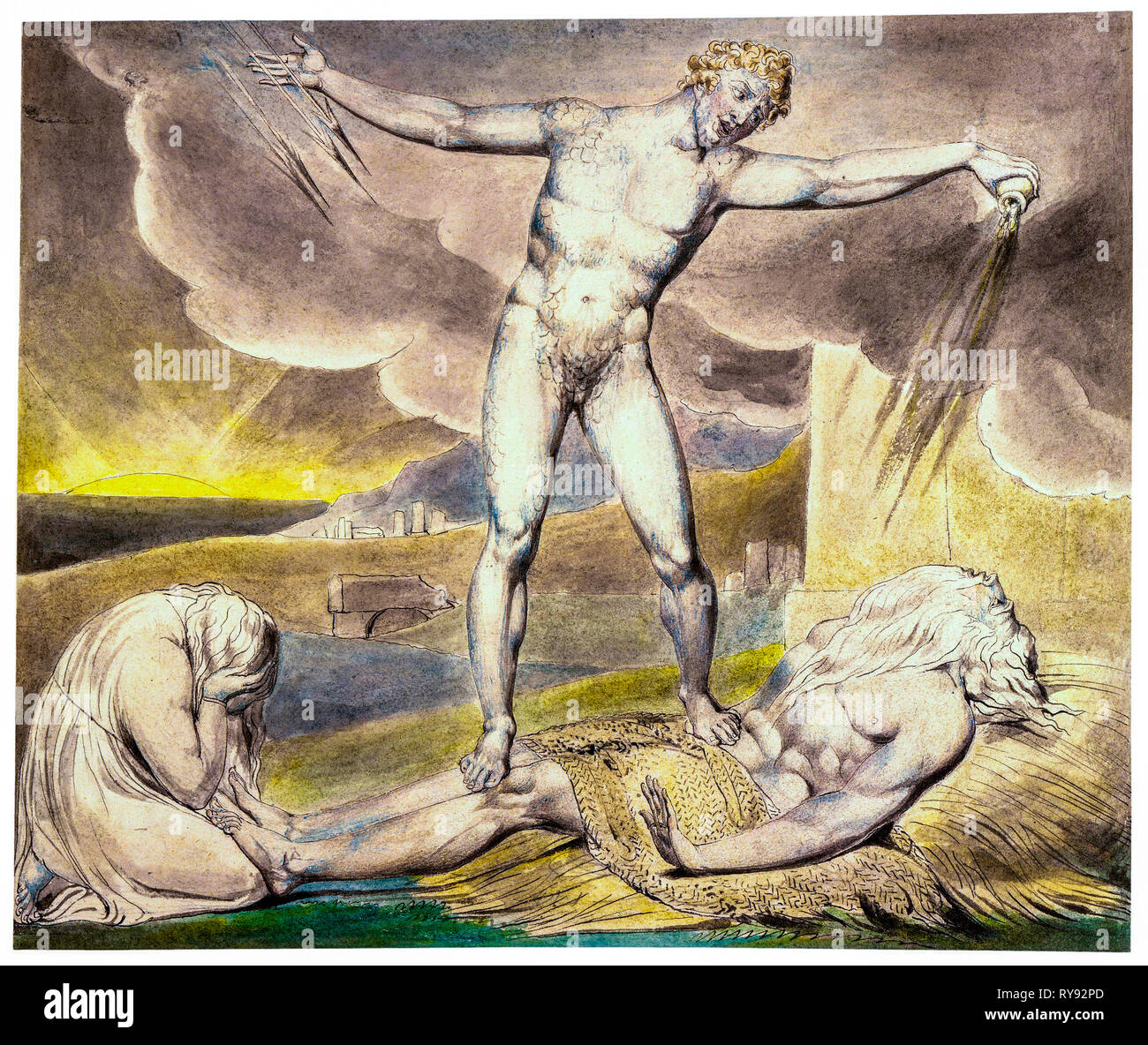 Satan Smiting Job with Boils, painting by William Blake, 1805 - Stock Image