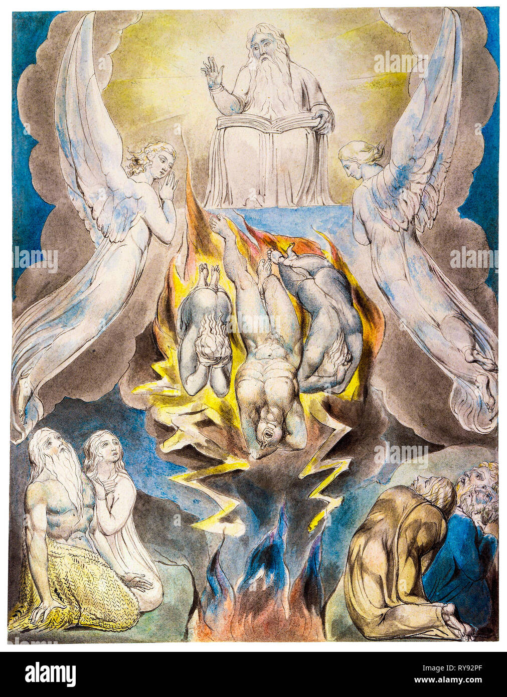 The Fall of Satan, painting by William Blake, 1805 - Stock Image