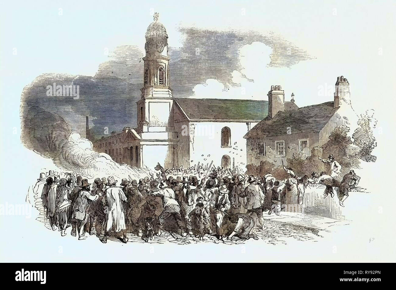 The Riot at Stockport: The Roman Catholic Chapel of Saints Philip and James, Edgeley, 1852 - Stock Image