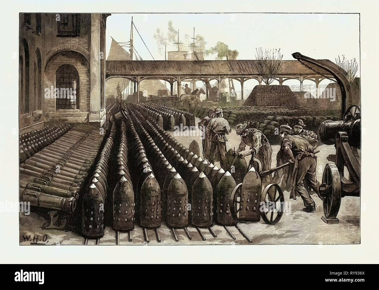 War Manufactures at Woolwich Arsenal: 700-Lb. Palliser Shells for the 38-Ton Guns 1879 - Stock Image