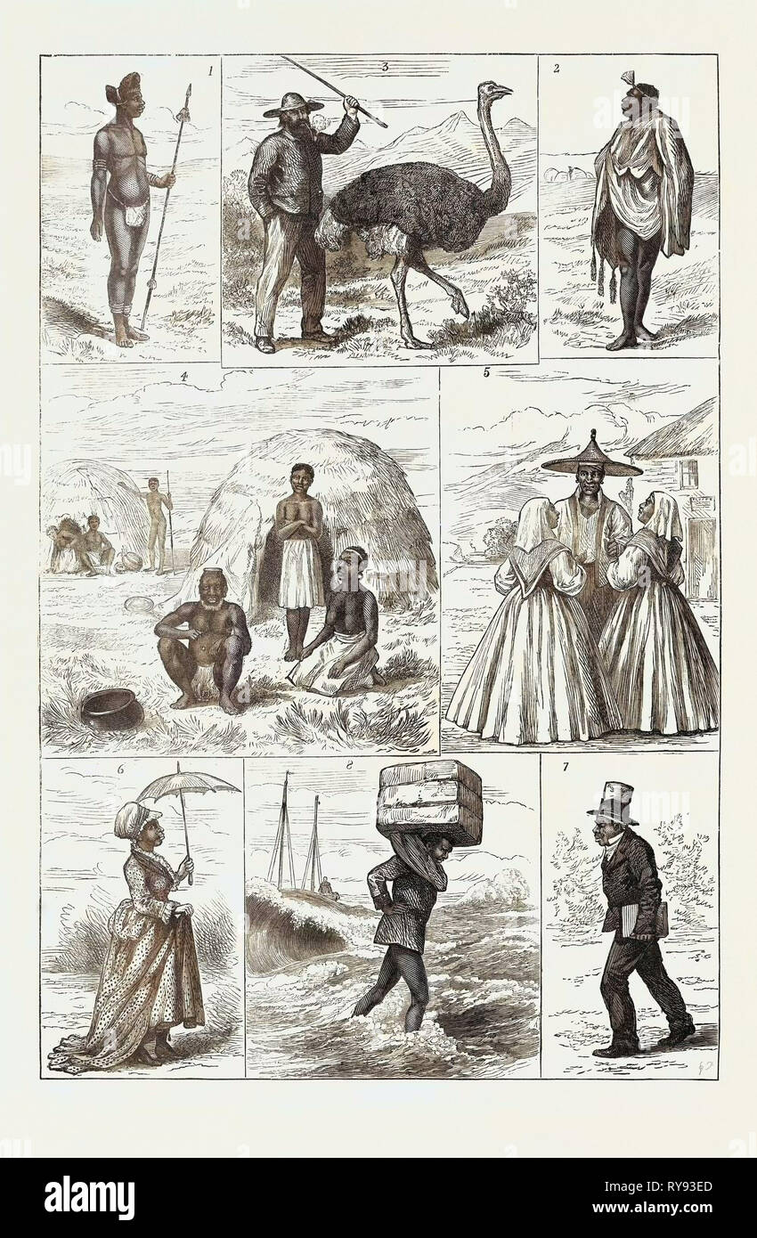 Sketches in South Africa: 1. Young Zulu Chief Natal 2. Kaffir Chief Robed in a Kaross of Jackal Skin 3. Dutch Boer with an Ostrich 4. Kaffir Kraal and Domestic Life 5. Malays at Capetown 6. Civilised Kaffir Belle in King William's Town 7. Civilised Kaffir Going to Church or Chapel 8. Fingo Landing Ship's Cargo Port Elizabeth 1879 - Stock Image