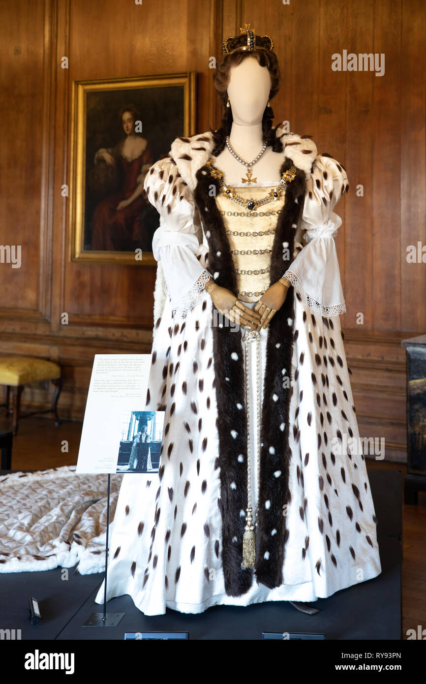 Olivia Colman's costume from the film 'The Favourite' - Stock Image