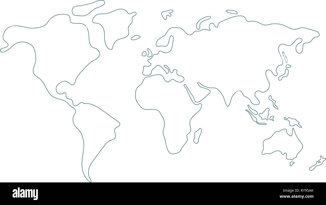 Line Drawing World Map High Resolution Stock Photography And
