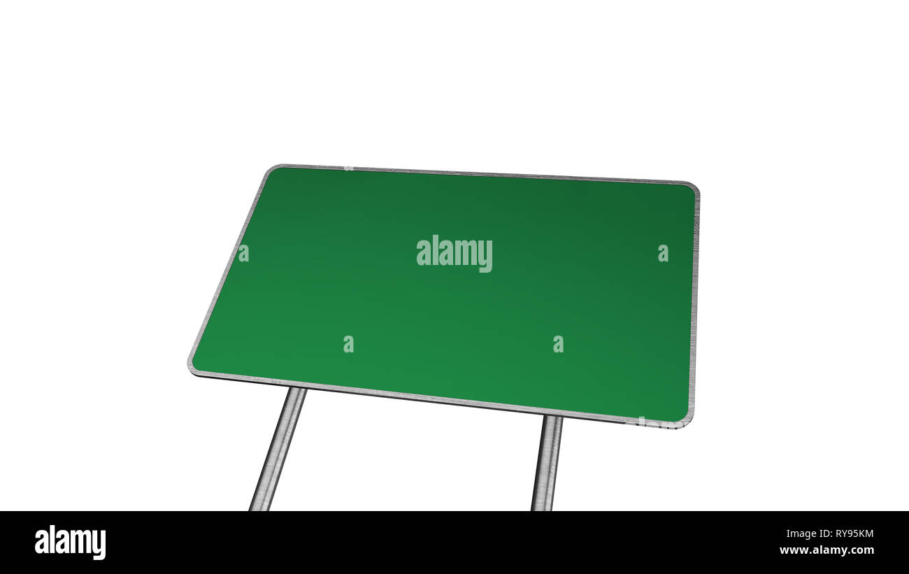 Road Sign in Green Color Isolated On White Background - Stock Image