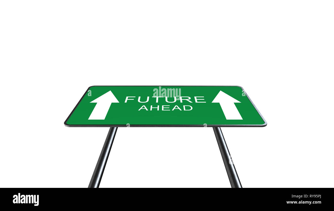 Future Green Road Sign With Direction Arrow Isolated On White Background. Business Concept 3D Rendering - Stock Image